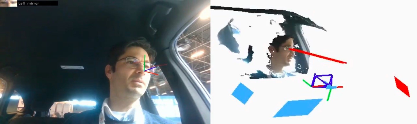 man in car using 3D eye-tracking software