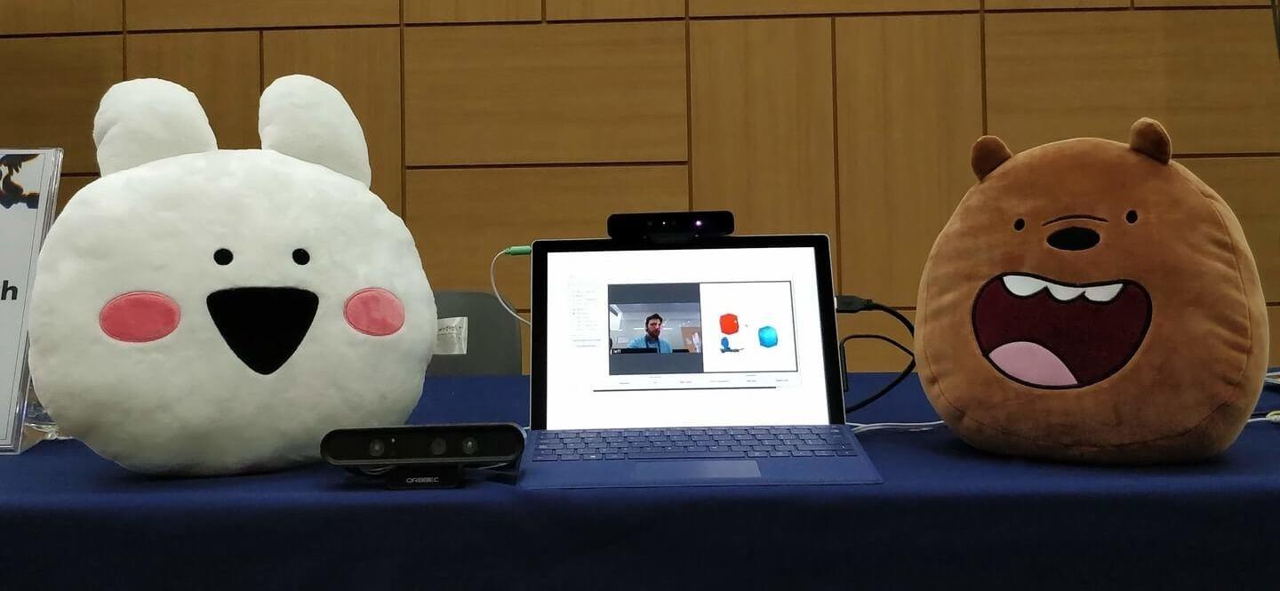 Eyeware's Gaze Sense 3D demo setup with Extremely Rabbit and Grizzly Bear
